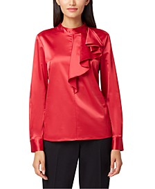 Stand-Collar Ruffle-Trim Top