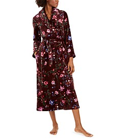 Women's Floral-Print Long Fleece Robe