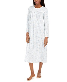 Brushed Honeycomb Floral-Print Long Nightgown