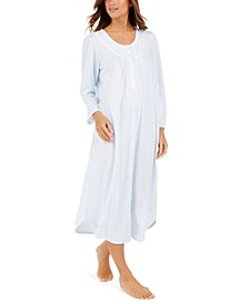 Brushed Honeycomb Pointelle Knit Long Nightgown