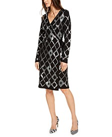 INC Sequin Wrap Sweater Dress, Created For Macy's