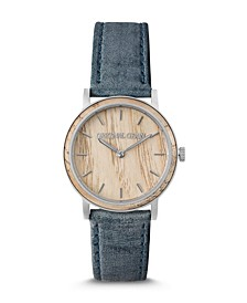 Orignal Grain Women's Ash Wood Paired with Denim Blue Genuine Leather Band Watch 34mm