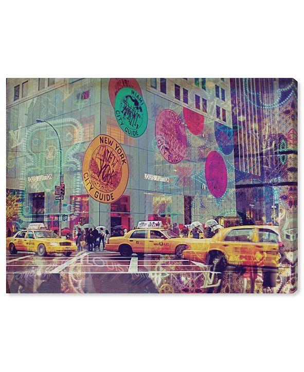 "Oliver Gal NYC Fashion Taxi Canvas Art, 20"" x 17"""