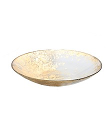 Smoked Glass Bowl with Scattered Gold Tone Design