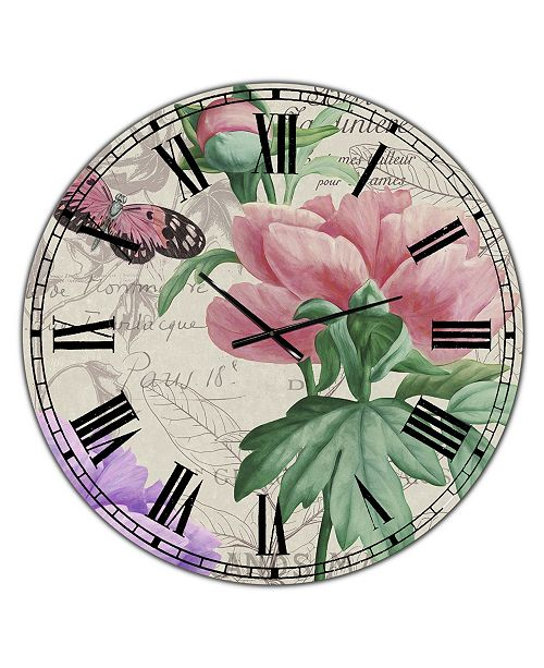 "Designart Vintage-Inspired Flowers II Large Cottage Wall Clock - 36"" x 28"" x 1"""