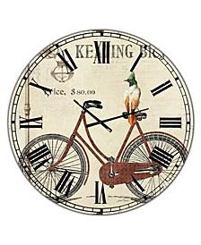 "Bike-Keating Bicycle Large Cottage Wall Clock - 36"" x 28"" x 1"""