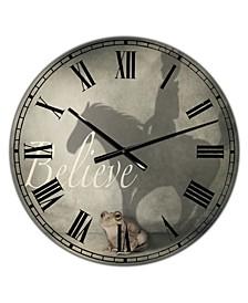 "Believe Shadow II Large Cottage Wall Clock - 36"" x 28"" x 1"""