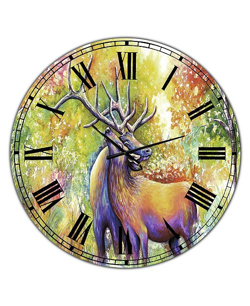 "Designart Hugging Elk Love Large Cottage Wall Clock - 36"" x 28"" x 1"""