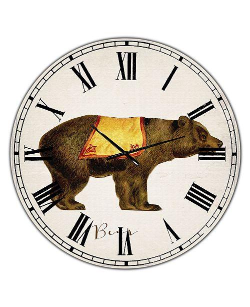 "Designart Circus Animals Bear Oversized Cottage Wall Clock - 36"" x 28"" x 1"""