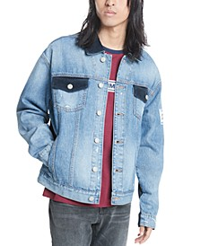 Men's Pieced Colorblocked Corduroy Denim Jacket