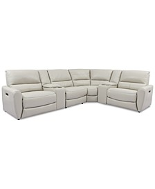 Danvors 6-Pc. Leather Sectional Sofa with 3 Power Recliners, Power Headrests, 2 Consoles, and USB Power Outlet