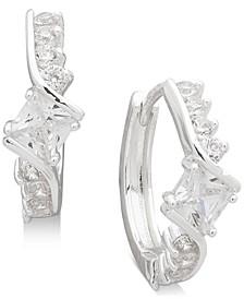 """Small Silver-Tone Crystal Huggie Hoop Earrings 2/3"""""""