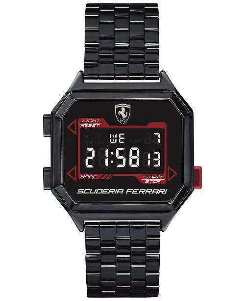 Ferrari Men's Digital Digidrive Black PVD Stainless Steel Bracelet Watch 34mm
