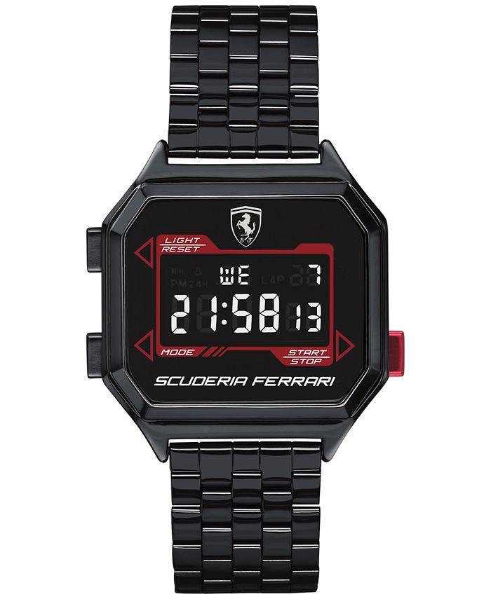 Ferrari - Men's Digital Digidrive Black PVD Stainless Steel Bracelet Watch 34mm