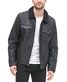 Men's Sherpa Lined Faux Leather Trucker Jacket
