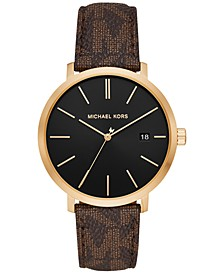 Men's Blake Brown Logo PVC Strap Watch 42mm