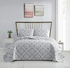 Mauer Matelassé Medallion 3-Pc. Full/Queen Quilt Set