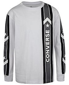 Big Boys Oversized Sport Stripe Logo T-Shirt