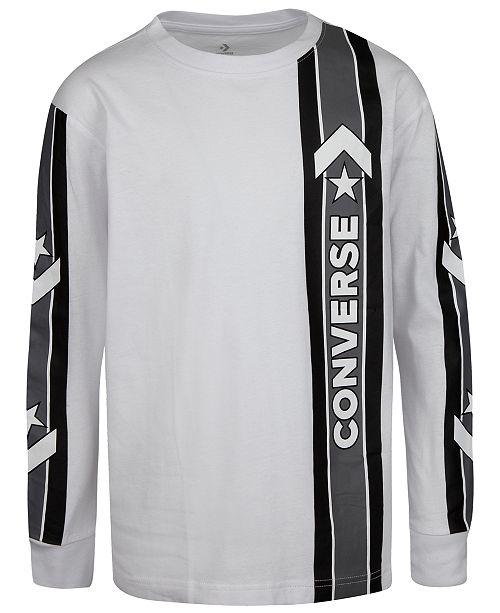 Converse Big Boys Oversized Sport Stripe Logo T-Shirt