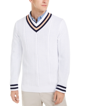 60s 70s Men's Jackets & Sweaters Club Room Mens Textured Cricket Sweater Created For Macys $39.99 AT vintagedancer.com