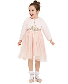 Little Girls Sequined Glitter Dress & Faux-Fur Shrug
