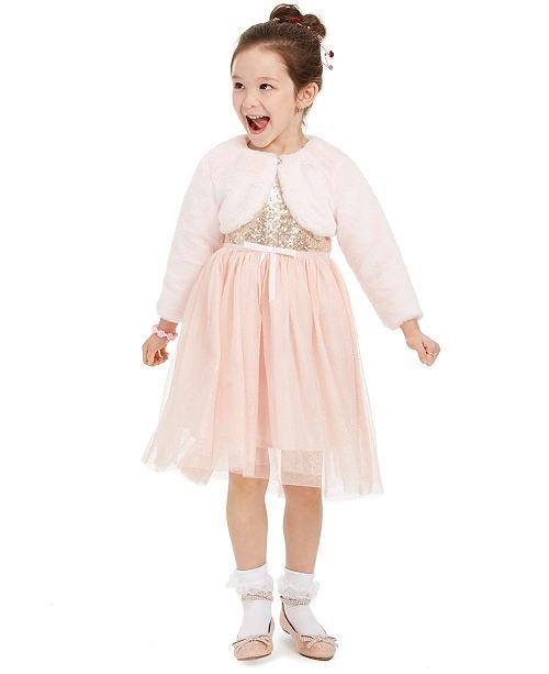 Blueberi Boulevard Blueberri Boulevard Toddler Girls 2-Pc. Sequined Glitter Dress & Faux-Fur Shrug Set