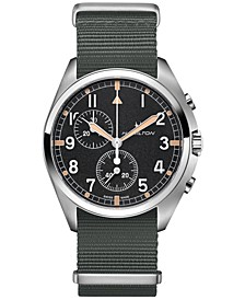 Men's Swiss Chronograph Khaki Pilot Pioneer Gray Nato Strap Watch 41mm