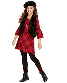 Big Girls 3-Pc. Faux-Fur Vest, Plaid Dress & Necklace Set