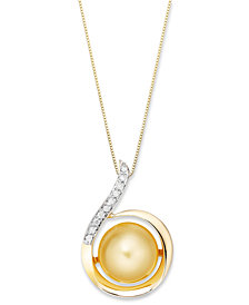 14k Gold Necklace, Golden South Sea Pearl (11mm) and Diamond (1/10 ct. t.w.) Swirl Pendant