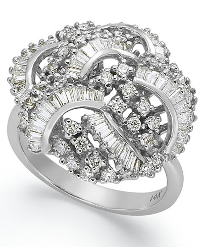 Classique by EFFY Diamond Swirl Ring (1-1/2 ct. t.w.) in 14k White Gold