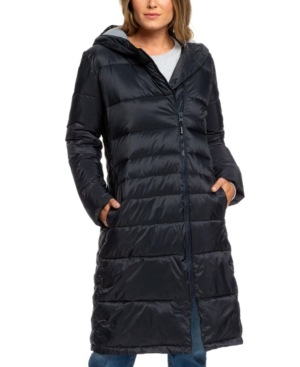 Roxy Juniors' Everglade Hooded Puffer Coat In True Black