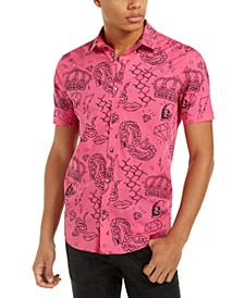 INC Men's Regular-Fit Graffiti-Print Shirt, Created For Macy's