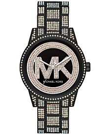 Women's Ritz Black Stainless Steel & Pavé Bracelet Watch 41mm
