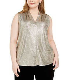 Plus Size Metallic V-Neck Top