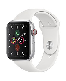 GPS + Cellular, 44mm Silver Aluminum Case with White Sport Band
