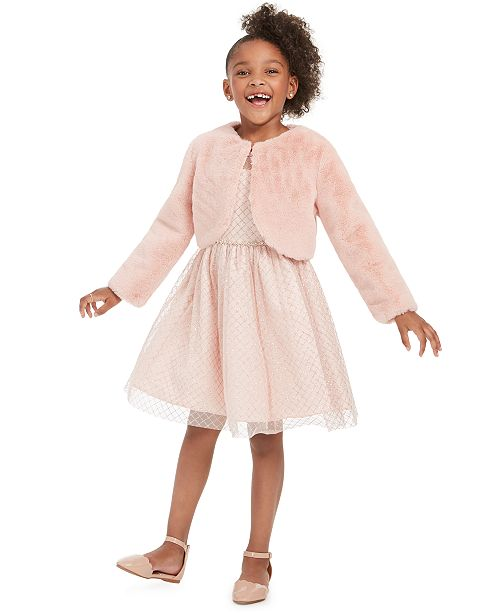 Rare Editions Little Girls 2-Pc. Faux-Fur Bolero & Glitter Dress Set