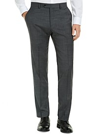 Men's Modern-Fit THFlex Stretch Gray/Blue Plaid Suit Pants