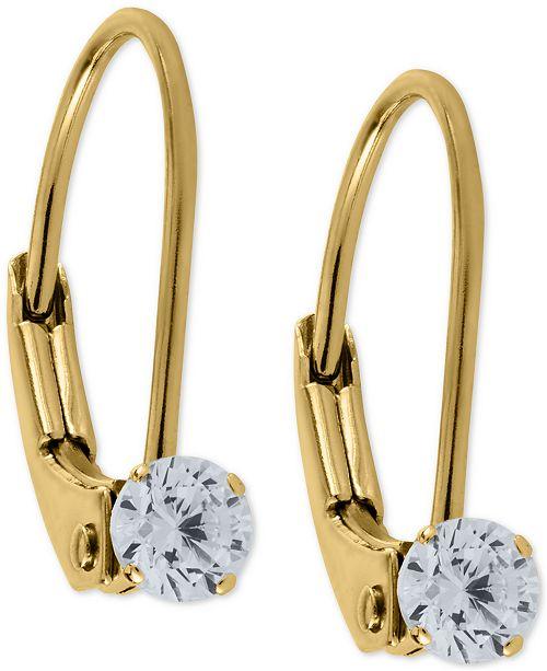 Macy's Child's Cubic Zirconia Hoop Earrings in 14k Gold