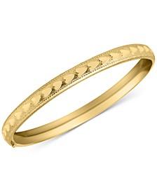 Children's Heart Bangle Bracelet in 14k Gold plated over Brass Alloy