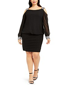 Plus Size Cold-Shoulder Embellished Blouson Dress