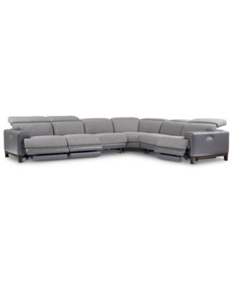 Madiana 6-Pc. Fabric and Leather Sectional with 3 Power Recliners, Created For Macy's