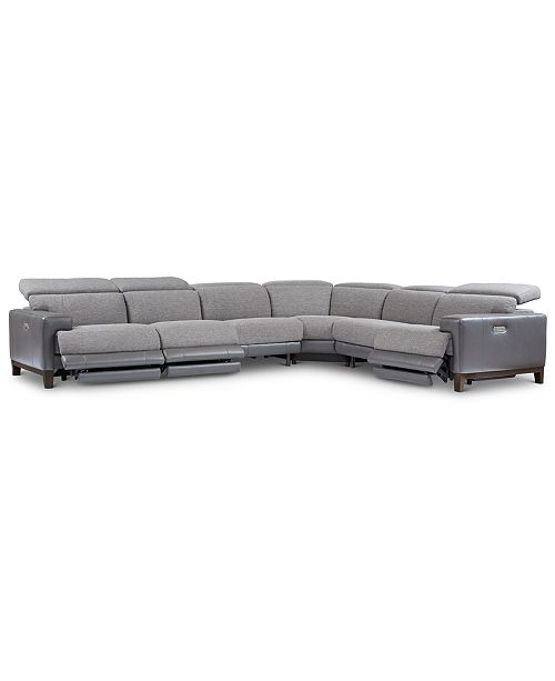 Outstanding Madiana 6 Pc Fabric And Leather Sectional With 3 Power Recliners Created For Macys Onthecornerstone Fun Painted Chair Ideas Images Onthecornerstoneorg