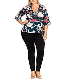 Trendy Plus Size Ikebana Floral Top