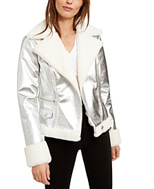 Faux-Fur-Trim Metallic Moto Jacket, Created For Macy's