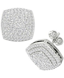 Diamond Square Cluster Stud Earrings (1/2 ct. t.w.) in Sterling Silver