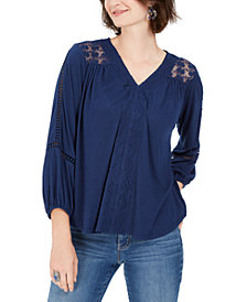 Style & Co Lace-Back Crochet Top, Created For Macy's