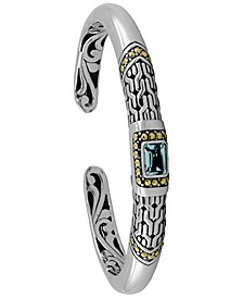 Gemstone Bali Heritage Signature Cuff Bracelet in Sterling Silver and 18k Yellow Gold Accents (Available in Amethyst, Garnet and Blue Topaz)