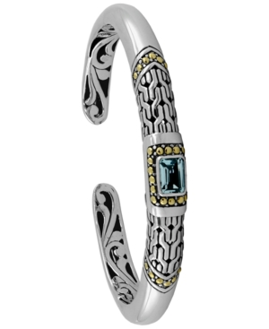 Gemstone Bali Heritage Signature Cuff Bracelet in Sterling Silver and 18k Yellow Gold Accents (Available in Amethyst