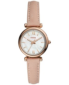 Women's Carlie Mini Blush Leather Strap Watch 28mm