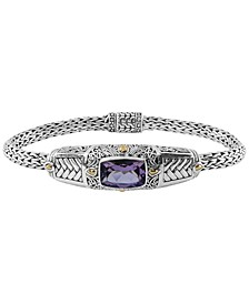 Amethyst (3-9/10 ct. t.w.) Bali Heritage Classic Cuff Bracelet in Sterling Silver and 18k Yellow Gold Accents